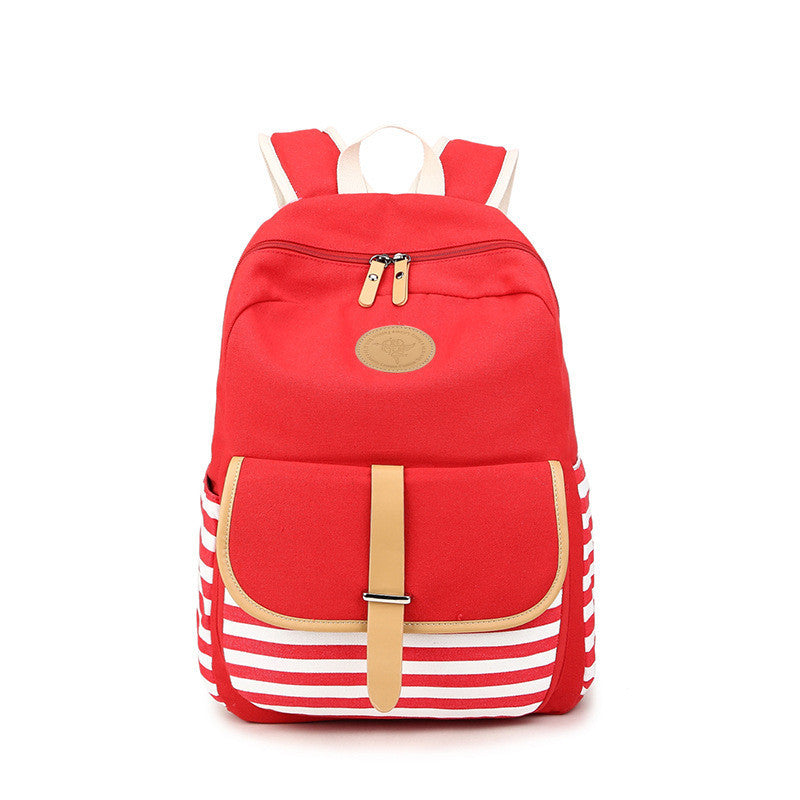 Stripe Print Canvas Backpack School Travel Bag - Meet Yours Fashion - 5