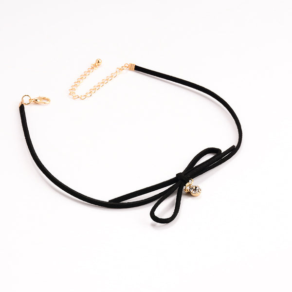 Bowknot Beads Short Choker Necklace