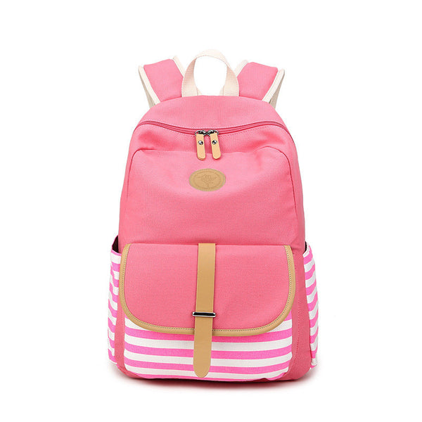 Stripe Print Canvas Backpack School Travel Bag - Meet Yours Fashion - 4
