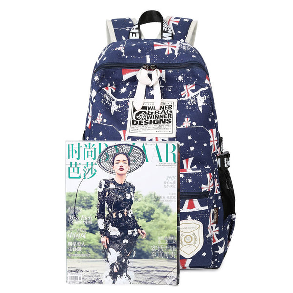 British Simple Students Words Printed Travel Backpack