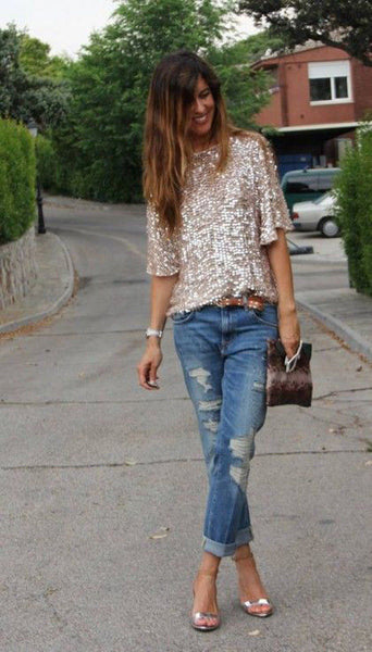 1/2 Sleeves Sequin Casual Loose Sexy Club Blouse - Meet Yours Fashion - 3