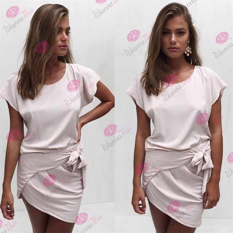 O-neck Irregular Pure Color Short Sleeve Short Dress - Meet Yours Fashion - 5