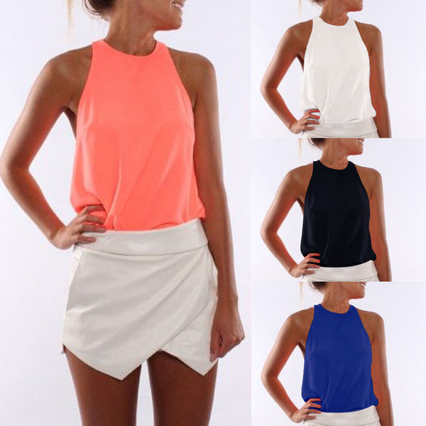 Scoop Pure Color Sleeveless Casual Beach Blouse