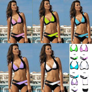 Contrast Color Patchwork Cross Hollow Out V-neck Bikini - Meet Yours Fashion - 1