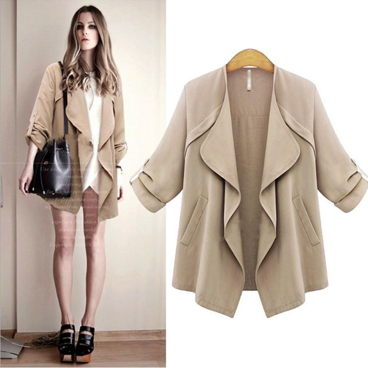 Plus Size Lapel Long Sleeves Casual Loose Coat - Meet Yours Fashion - 2