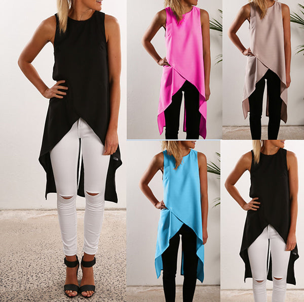 Irregular Strap Pure Color Chiffon Crossover Blouse - Meet Yours Fashion - 2