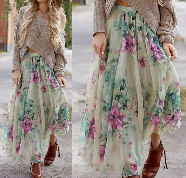 Bohemian Flower Print Wide Flare Maxi Skirt - Meet Yours Fashion - 2