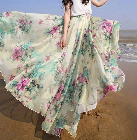 Bohemian Flower Print Wide Flare Maxi Skirt - Meet Yours Fashion - 4
