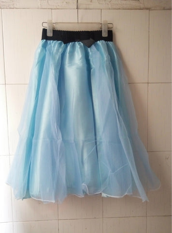 Sweet Bowknot Multi-layer A-line Pleated Tulle Skirt