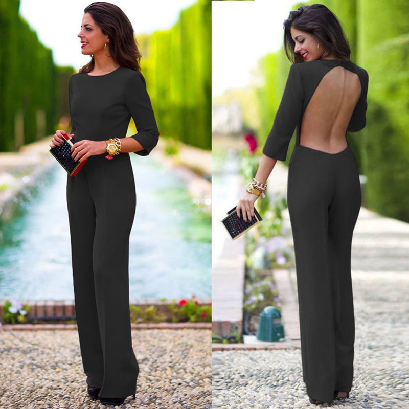 Pure 3/4 Sleeves Scoop Brief Slim Backless Long Jumpsuits - Meet Yours Fashion - 3
