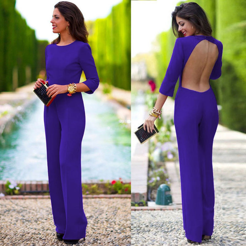 Pure 3/4 Sleeves Scoop Brief Slim Backless Long Jumpsuits - Meet Yours Fashion - 4