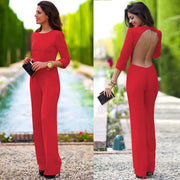 Pure 3/4 Sleeves Scoop Brief Slim Backless Long Jumpsuits - Meet Yours Fashion - 1