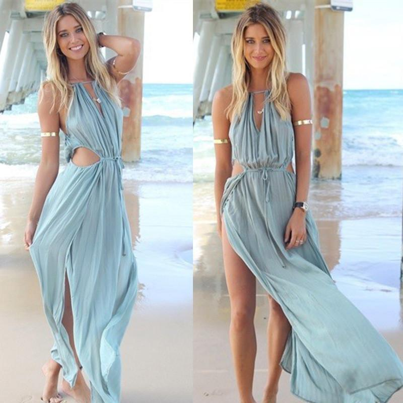 Chiffon Sleeveless Pure Color Irregular Spaghetti Strap Long Dress - Meet Yours Fashion - 1