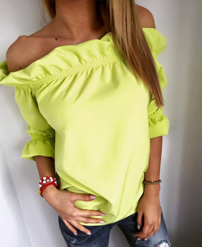 Falbala Strapless 1/2 Sleeves Pure Color Sexy Blouses