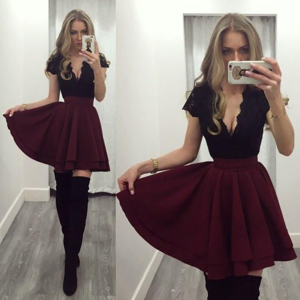 Deep V-neck Patchwork Splicing Lace Short Dress - Meet Yours Fashion - 1