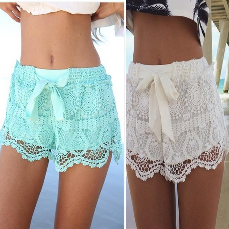 Bowknots Lace Irregular High Waist Beach Hot Shorts - Meet Yours Fashion - 1