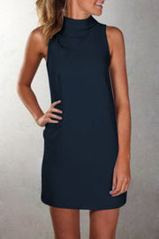 Pure Color Sexy O-neck Sleeveless Short Dress - Meet Yours Fashion - 8