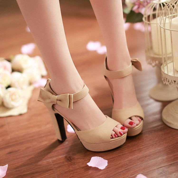 Sweet Candy Color Bow Knot Thick Heel Platform Sandals - MeetYoursFashion - 3