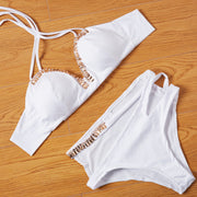 White Halter Sequins Cross Bandage Two Pieces Swimwear