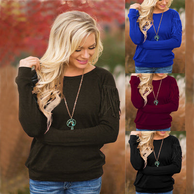 Pullover Scoop Long Sleeve Tassel Decorate Knit Blouse