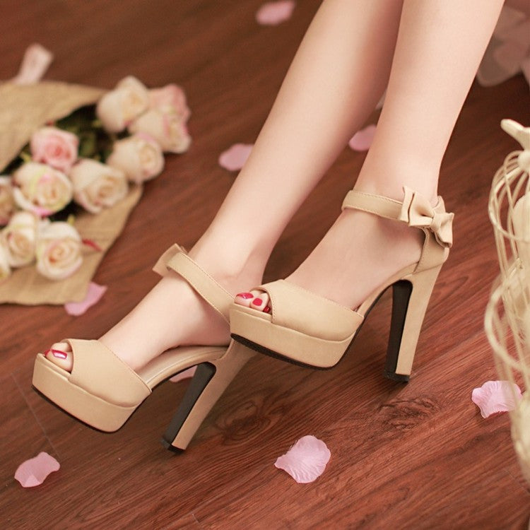 Sweet Candy Color Bow Knot Thick Heel Platform Sandals - MeetYoursFashion - 7