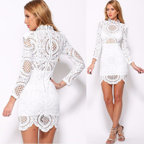Hollow Out Lace High Neck Long Sleeve Lining Short Dress