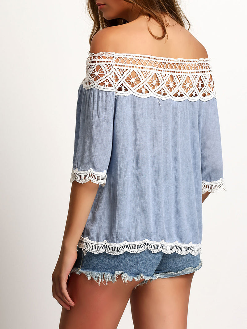 Strapless Lace Patchwork 1/2 Sleeves Off-shoulder Chiffon Blouse