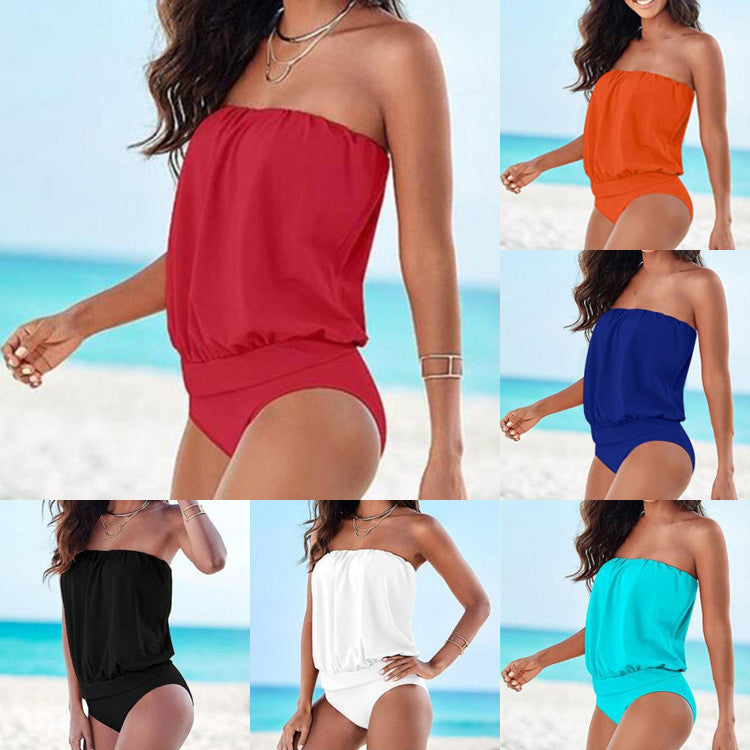 Sexy Pure Color Strapless Loose One Piece Swimwear