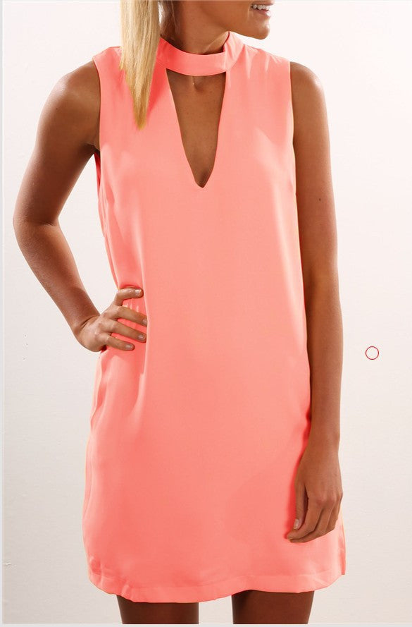 Scoop Solid Sleeveless Loose Chiffon Short Dress - Meet Yours Fashion - 7