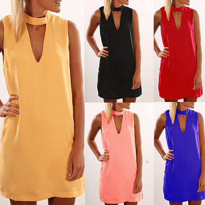 Scoop Solid Sleeveless Loose Chiffon Short Dress