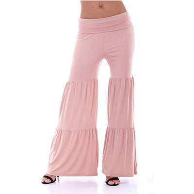 Bohemian Style Low Waist Wide Leg Drape Pants
