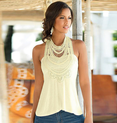 Lace Patchwork Sleeveless Retro Loose Patchwork Blouse - Meet Yours Fashion - 1
