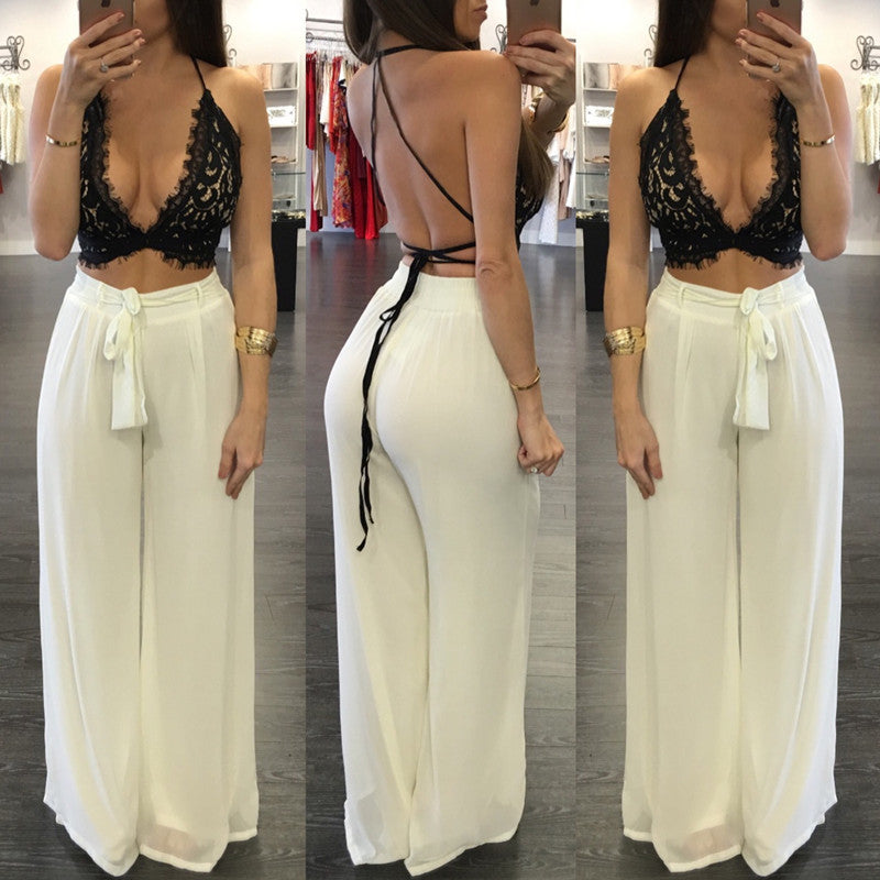 14778c1a63b Deep V-neck Strap Lace Hollow Out Top Wide Legs Pants Suit - Meet Yours