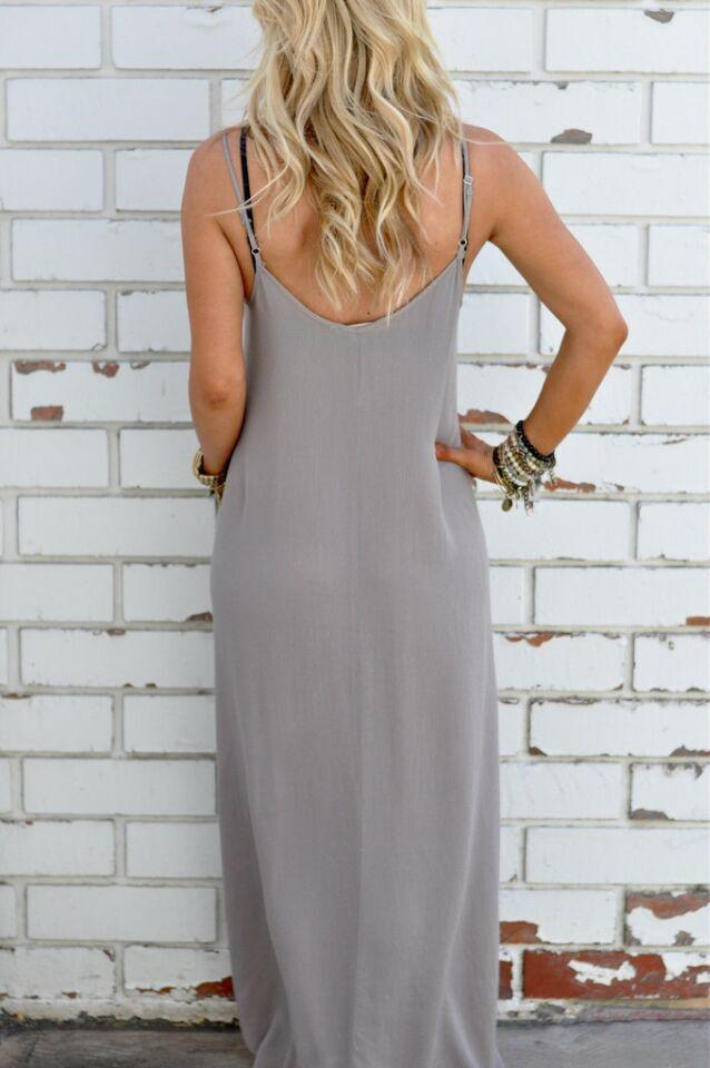 Pure Color Splicing Spaghetti Strap Backless Sleeveless Long Dress - Meet Yours Fashion - 4