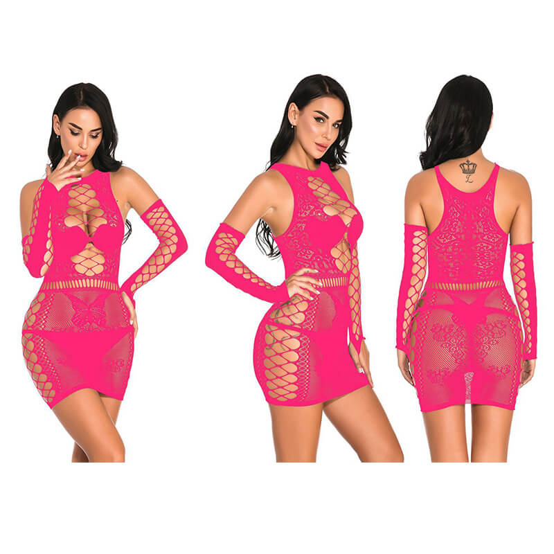 Lace See Through Cutout Bodycon Mini Dress