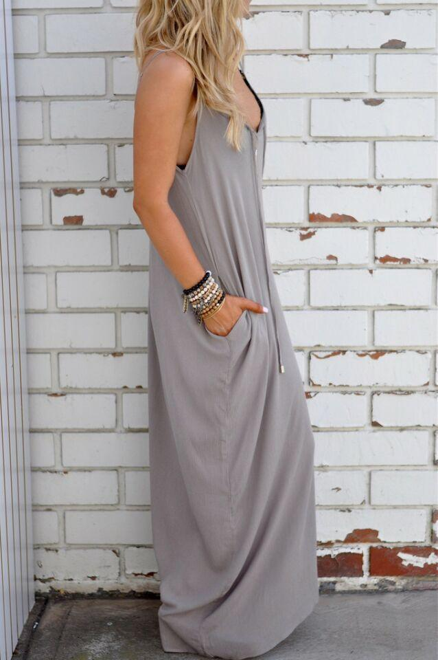 Pure Color Splicing Spaghetti Strap Backless Sleeveless Long Dress - Meet Yours Fashion - 3