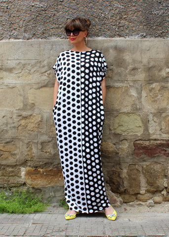 Polka Dot Loose O-neck Sleeveless Long Dress