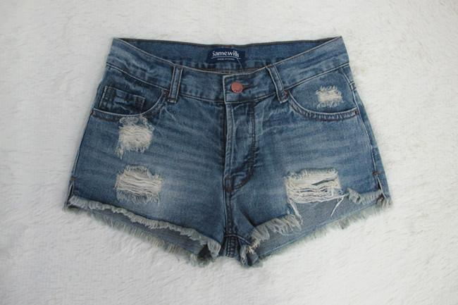 Low Waist Rough Edges Holes Split Hot Shorts - Meet Yours Fashion - 3