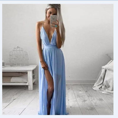 Pure Color Straps Deep V-neck Split Long Dress - Meet Yours Fashion - 1