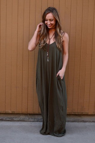 Spaghetti Strap V-neck Pleated Floor-length Long Cotton Loose Dress - Meet Yours Fashion - 7