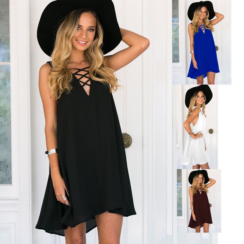 V-neck Sleeveless Pure Color Chest Cross Short Dress - Meet Yours Fashion - 1