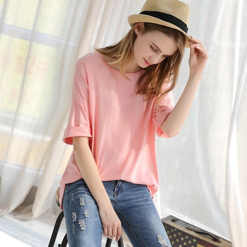 Scoop 1/2 Sleeve Pure Color Loose Plus Size T-shirt - Meet Yours Fashion - 2
