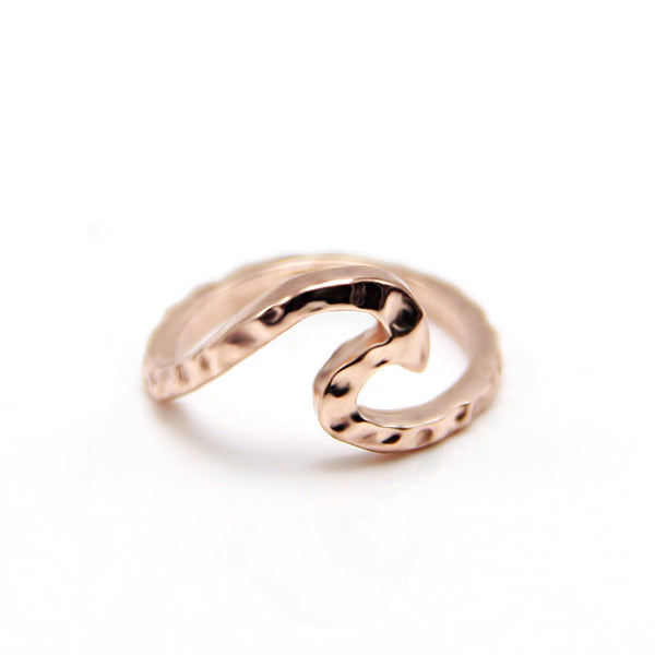 Alloy silver plated simple wave ring