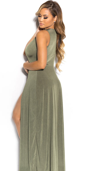 Deep V-neck Sleeveless Split Sexy Long Dress - Meet Yours Fashion - 9