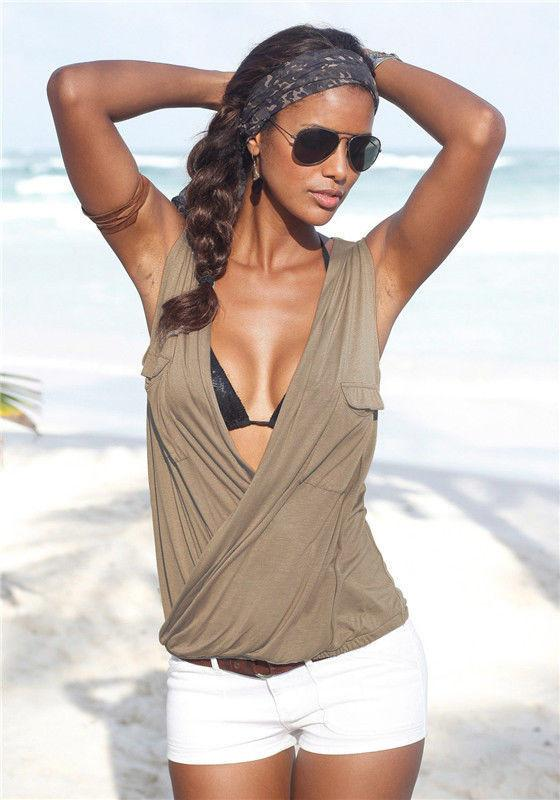 Deep V-neck Sleeveless Strap Cross Sexy Blouse - Meet Yours Fashion - 6