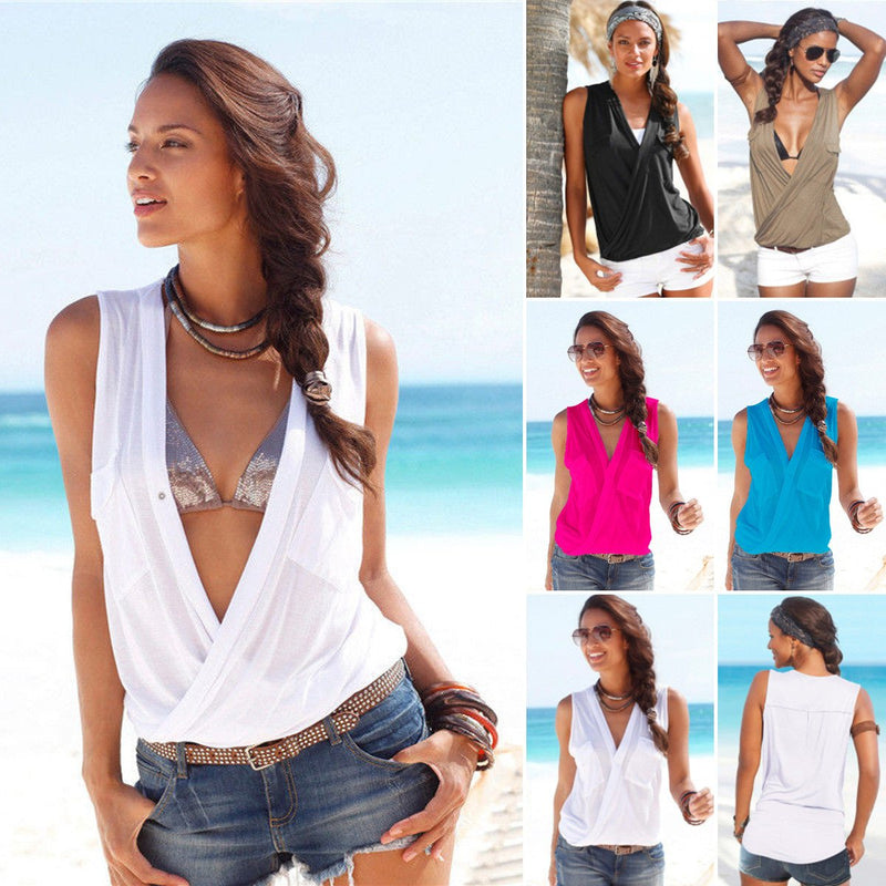 Deep V-neck Sleeveless Strap Cross Sexy Blouse - Meet Yours Fashion - 1