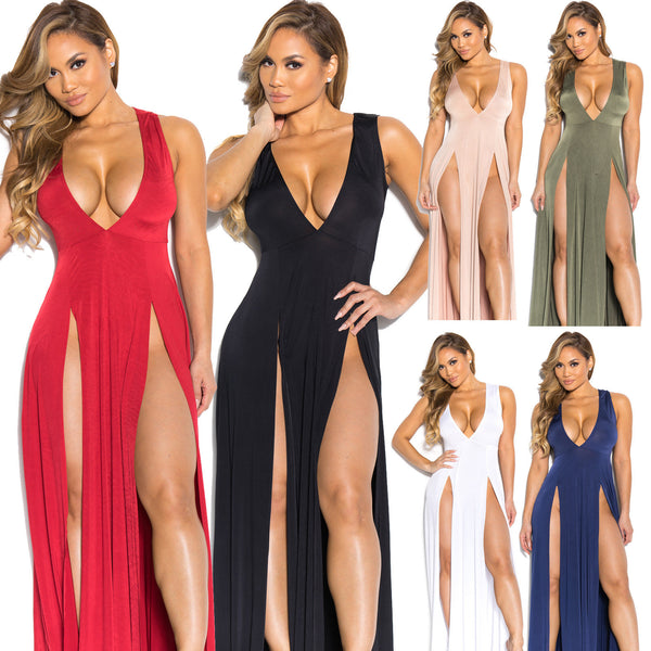 Deep V-neck Sleeveless Split Sexy Long Dress - Meet Yours Fashion - 3
