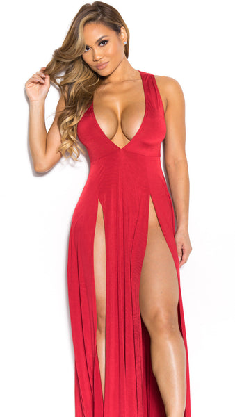 Deep V-neck Sleeveless Split Sexy Long Dress - Meet Yours Fashion - 7
