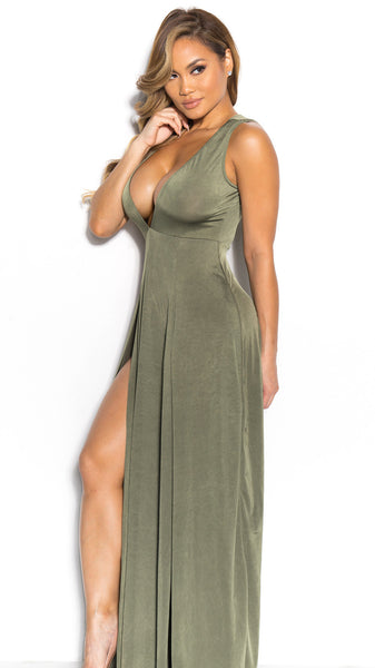 Deep V-neck Sleeveless Split Sexy Long Dress - Meet Yours Fashion - 5