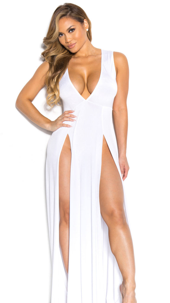 Deep V-neck Sleeveless Split Sexy Long Dress - Meet Yours Fashion - 1